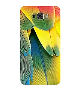 Fiobs Designer Phone Back Case Cover Asus Zenfone 3 Laser ZC551KL (5.5 Inches) ( Colorful Feather Paint Shade Look )