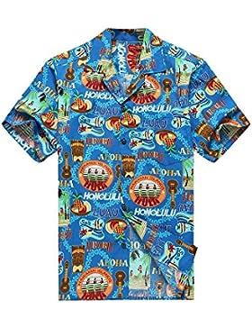 Hecho en Hawai de los hombres Camisa hawaiana Camisa de la hawaiana Peces de Tiki del Ukulele de las muchachas...