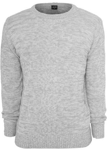 Urban Classics Herren Sweatshirt Melange Knitted Crew - Regular Fit Grey/White