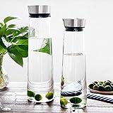 Buwico 1L Wasser Karaffe klassischen Krug Saft Flasche mit Deckel aus Edelstahl Borosilikat Glas Eistee Krug für Ziehen Wasser, Milch, Saft, Eistee, Limonade & Sparkling Getränke (1L), Borosilikatglas, 1L -