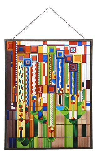 Ebros Frank Lloyd Wright Metall gerahmt Saguaro Kaktus Blumen gebeizt Glas Art Decor Wand Decor Sommer-editor