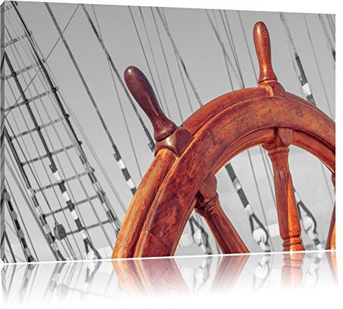 hölzernes Steuerrad auf einem Schiff schwarz/weiß Format: 120x80 auf Leinwand, XXL riesige Bilder fertig gerahmt mit Keilrahmen, Kunstdruck auf Wandbild mit Rahmen, günstiger als Gemälde oder Ölbild, kein Poster oder Plakat