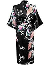 HonourSport-Kimono Japonais en Satin Sexy Robe de Chambre 1/2 Manches Peignoir-Femme