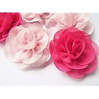 YYCraft 10x Chiffon-Blumen, Rose, 5,7cm (2,25 Zoll), Haarzubehör, für Hochzeiten 2 Colors