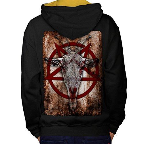 Okkulte Ziege Symbol satanistischen Men M Kontrast Kapuzenpullover Zurück | (Katze Kostüm Ziege)