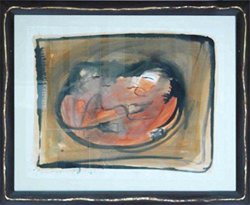 Artland Original Aquarell mit Passepartout und Holz-Rahmen Unikat von Hand gemalt Karl von Monschau ohne Titel - Menschen Menschen Paar Malerei Ocker 74 x 92 x 2 cm A0QX