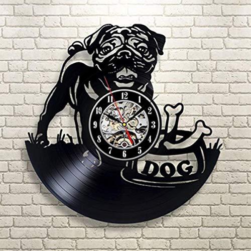 ttymei Vinyl-Wanduhr niedlichen Freund Hund Haus Haustier Welpe Tier Wand Dekor Vinyl Record Clock (Eine Halloween-welpe Film)