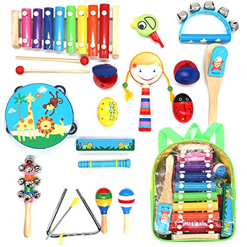 Toddler Musical Instruments,hasiben 17PCS 13 Kinds of Wooden Percussion Instruments Tambourine Xylophone fit Kids Preschool Education,Early Learning Musical Toy fit Boy and Girl with Storage Backpack