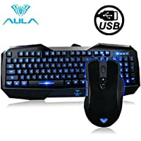 Mouse Aula 104 Keys AULA Series USB Wired Keyboard Multimedia di gioco con il mouse da gioco USB quarta marcia DPI via cavo (nero)