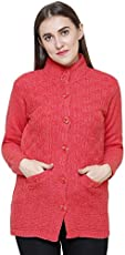 Matelco Hi-Neck Woollen Buttoned Cardigan With Pockets For Women