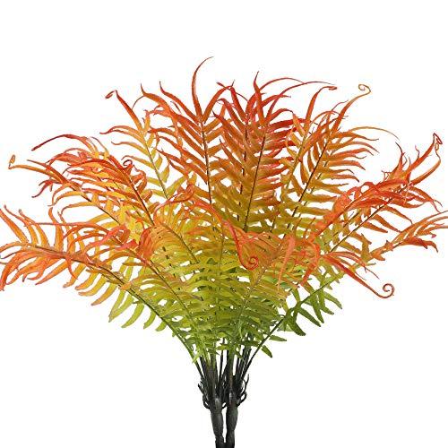 MIHOUNION Kunstpflanzen 2Pcs Deko Pflanzen Farn Künstliche Pflanze Balkonpflanzen Grün und Rot Pflanzen Blätter für Zuhause, Garten, Büro, Veranda