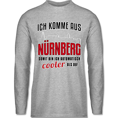 Shirtracer Städte - Ich Komme Aus Nürnberg - Herren Langarmshirt Grau Meliert