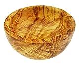 Runde Holzschüssel aus Olivenholz für Salat/Obst, gefasert/Natur
