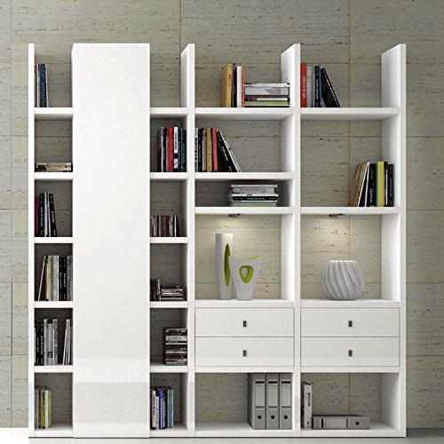Wohnwand Bücherregal TOLEO238 Hochglanz weiß