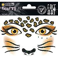Herma 15303 Face Art Sticker, Kostüm Aufkleber für das Gesicht, Motiv Leopard, dermatologisch getestet, für Fasching, Karneval, Halloween
