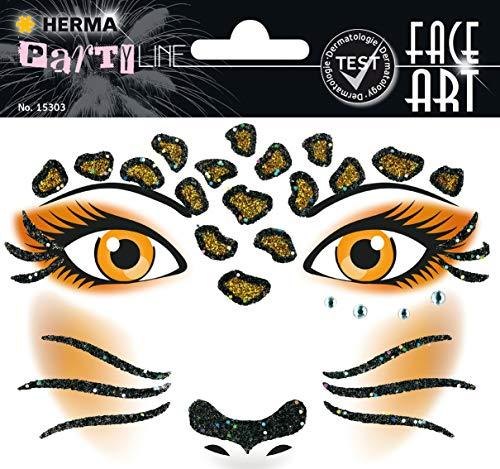 HERMA 15303 Face Art Sticker Leopard Gesicht Aufkleber Glitzer Sticker für Fasching, Karneval, Halloween, dermatologisch getestet