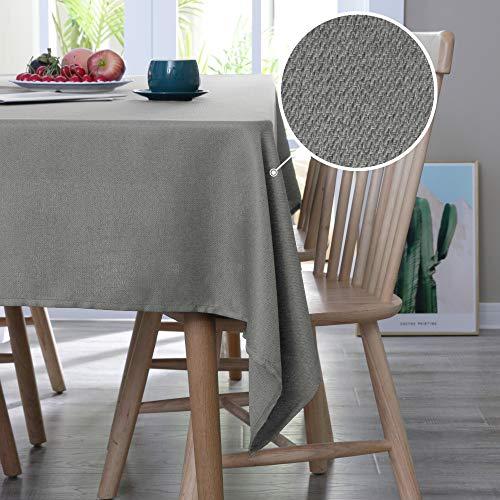 Deconovo Tischdecke Leinenoptik Lotuseffekt Tischwäsche Wasserabweisend Tischtuch Home 130x220 cm Grau