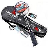 Joerex Badminton racket set 2 pcs By Hirmoz. aluminum-carbon badminton racket with shuttlecock 3 pcs. With Bag Badminton Kit,