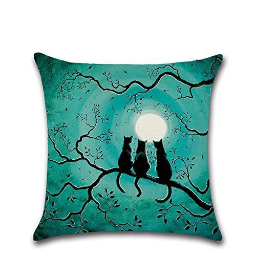 5 * 45 cm Halloween Themed Cartoons Tier Katze, Mond Druckt Kissenbezug Kissen Fall Decken Kissen Schlafzimmer ()