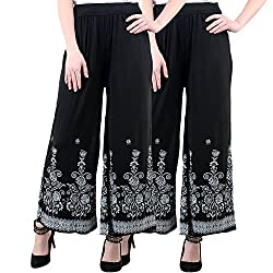 NumBrave Black And Black Viscose Floral Print Palazzo Pants for Women-Pack of 2