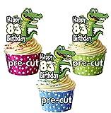 vorgeschnittenen Cartoon Krokodil–83rd Geburtstag–Essbare Cupcake Topper/Kuchen Dekorationen (12Stück)