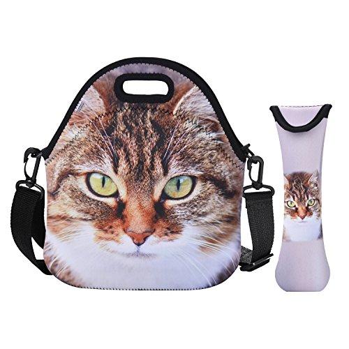 COOFIT Neopren Lunchtasche Picknicktasche isoliert Lunchbox Lebensmittel Behälter Lunchtasche mit Isolierung für Damen M 3D Meditation Katze