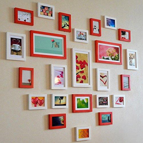 Preisvergleich Produktbild HJKY Photo Frame Wall Set Massivholz fotosticker Wohnzimmer Schlafzimmer Wand frame Animation Box mount stilvolle Herz zu kombinieren - geformte wall-box, 24 Photo weiß rot Kombination im Herzen der Animation Chipsatz