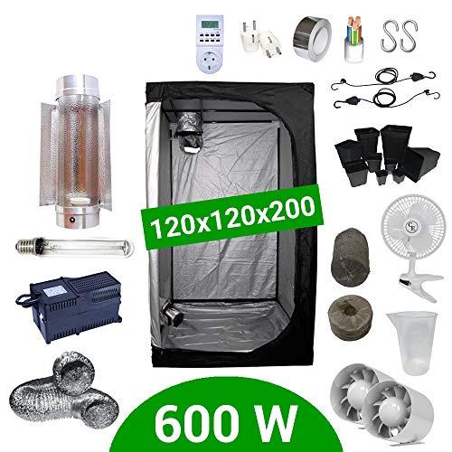Kit de cultivo interior 600W SHP Cooltube Protube - Armario 120x120x200 - Balastro Agrolite 2