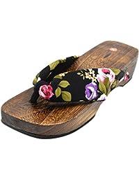 [Japon Made] Mens Geta Paulownia bois Sandals traditionnel Chaussures Noir de base de conception Taille L Bh9v4