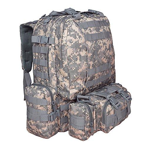 Ttlife 55 litri zaino con 3 tasche molle,grandi tasche esterne per una maggiore capienza e organizzazione degli oggetti che si desidera potare con se durante il viaggio.