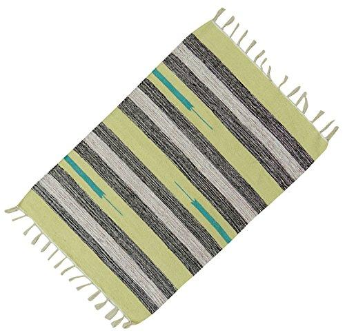 Streifenmuster Mehrfarbig Handgewebte Baumwolle Jute-Matte Teppich Wurf Läufer Teppich Dari 36