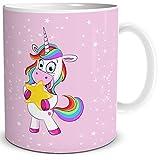 """TRIOSK Einhorn Tasse mit Lustigem Unicorn """"Lady Star"""" Geschenk für Frauen, Geschenkidee für Mädchen, Weiß Rosa Bunt, 300 ml Keramiktasse, Kaffeetasse für Freundin, Teetasse"""