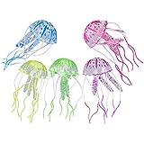 West See 5 Stück Jellyfish Aquarium Dekoration Künstliche Glowing-Effekt Fish Tank Ornament