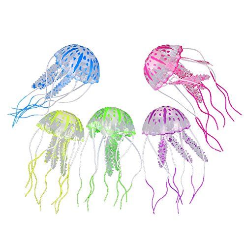 West See 5 Stück Jellyfish Aquarium Dekoration Künstliche Glowing-Effekt Fish Tank Ornament