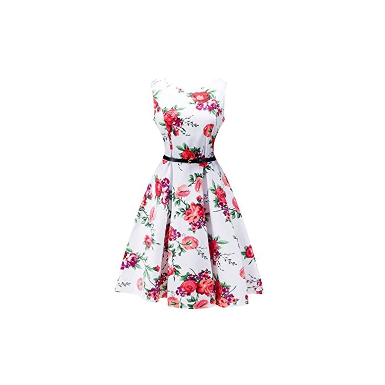 Women Rockabilly Vintage Midi Dress 40s 50s Evening Party Sleeveless Swing Dress