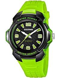 Calypso by Festina Armbanduhr Herrenuhr Analoguhr Leuchtzeiger 10 ATM K5635, Farbe:grün