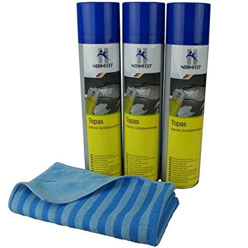 Preisvergleich Produktbild Normfest Topas Scheibenreinigungsschaum 3x 400 ml inkl DFT Glastuch blau