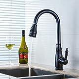 Gimili Küche Wasserhahn Schwarz mit Ausziehbarer Brause Einhandmischer für Küchen Spüle Einhebel Waschtischarmatur