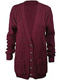c848e629b3 Purple Hanger Long Sleeve Full Length Cable Knit Knitted Boyfriend Cardigan  - Size 8 10 12