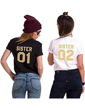 Best Friend T Shirt Stampa Sister Shirt Manica Corta Coppia 100% Cotone Magliette Migliori Amiche Estate Bianco...