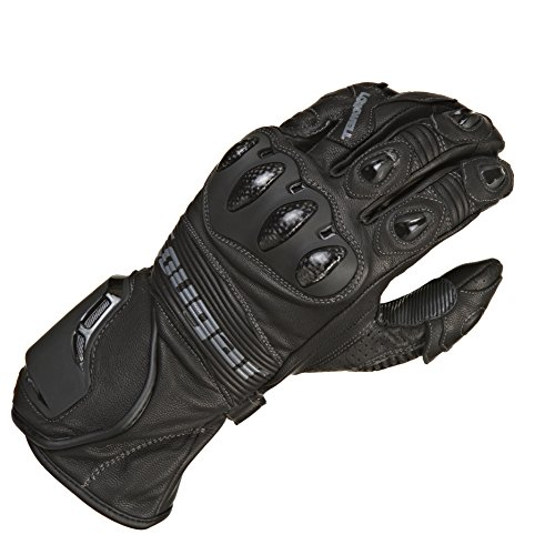 Lookwell Cougar Racing Motorrad Handschuhe für Damen und Herren, Schwarz, Größe M