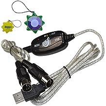 HQRP Adaptador MIDI Cable PC Converter Interfaz USB para entrada y salida MIDI al teclado de música para controlador de teclado M-Audio Keystation 88ES 88-Key USB MIDI + HQRP Medidor del sol