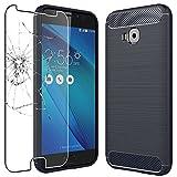 ebestStar - Coque ASUS Zenfone 4 Selfie Pro ZD552KL Housse Etui Gel Motif Fibre Carbone TPU Premium, Bleu Foncé + Film en Verre Trempé [NB: Lire Description][Appareil: 154 x 74.8 x 6.9mm, 5.5'']