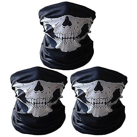 Dohot Lot de 3respirant sans raccords tuyaux tubes Tête de mort Moto Demi masque Vélo masques, 3 paires -