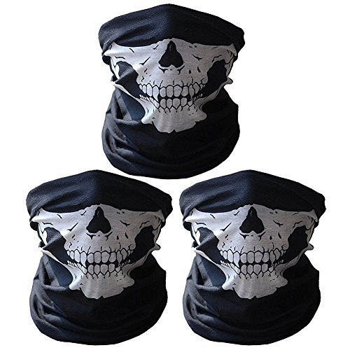 dohot 3Pack atmungsaktiv nahtlose Rohre Röhren Totenkopf Halbmaske Motorrad Fahrrad Masken, 3 White