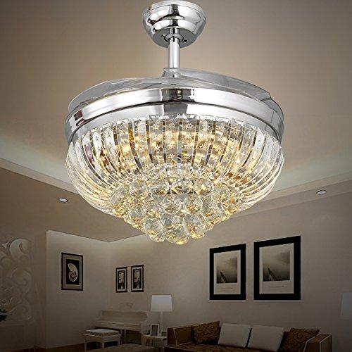 42 pollici crystal ventilatori a soffitto soggiorno luci di cristallo invisibile ventilatori a soffitto ,Bianco,controllo remoto