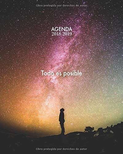 Agenda 2018/2019 Todo es posible: Agenda con frases motivacionales, Diseño estrellado, 15 meses, Semana Vista, 20 x 25cm (Octubre 2018 - diciembre 2019) por Papeterie Collectif