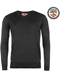 Lee Cooper Hommes Marl Col V Tricote Sweatshirt Top Haut Sweater Manche Longue