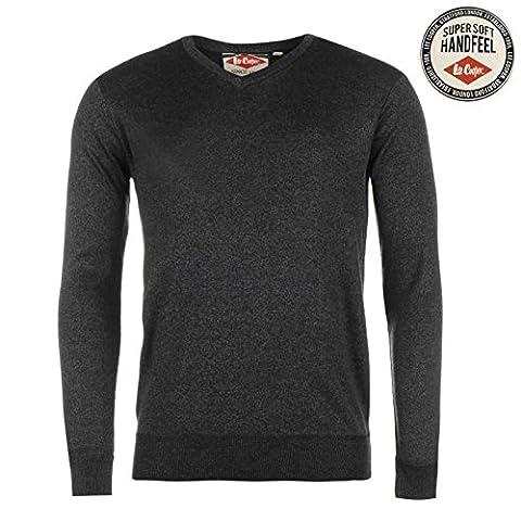Lee Cooper Hommes Marl Col V Tricote Sweatshirt Top Haut Sweater Manche Longue Noir Marl Medium