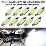 KKmoon 10Pcs Festoon 41mm C5W COB LED Bianco Interno SMD Lampadina Car Light Source Lampada da Lettura